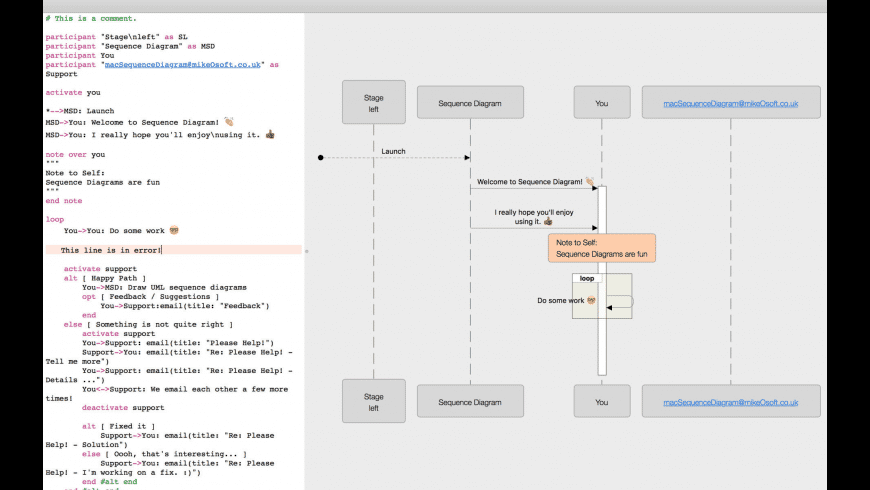 Sequence Diagram for Mac - review, screenshots