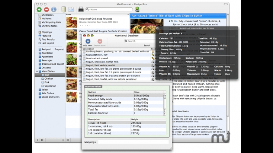 MacGourmet:Nutrition for Mac - review, screenshots