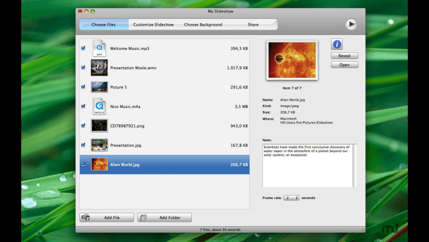 Slideshow for Mac - review, screenshots