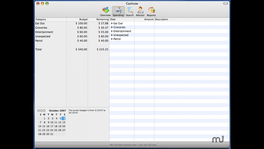 Cashcow for Mac - review, screenshots