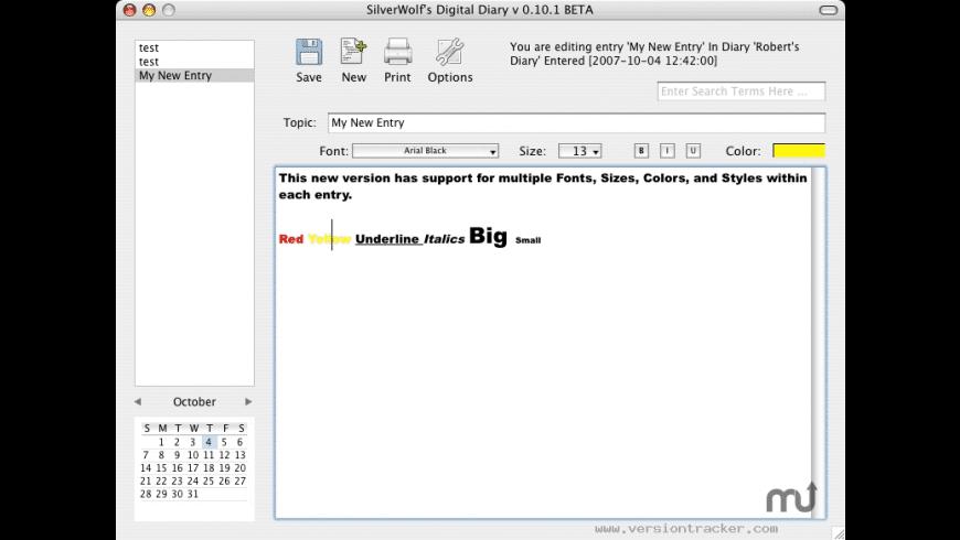 Silverwolf's Digital Diary for Mac - review, screenshots