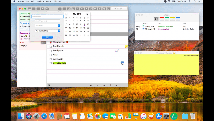 Make a List for Mac - review, screenshots