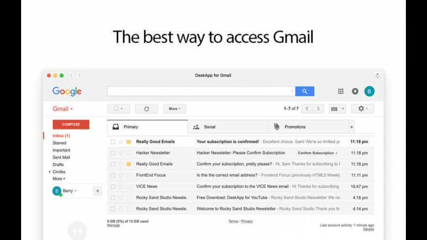 Mail for Gmail for Mac - review, screenshots