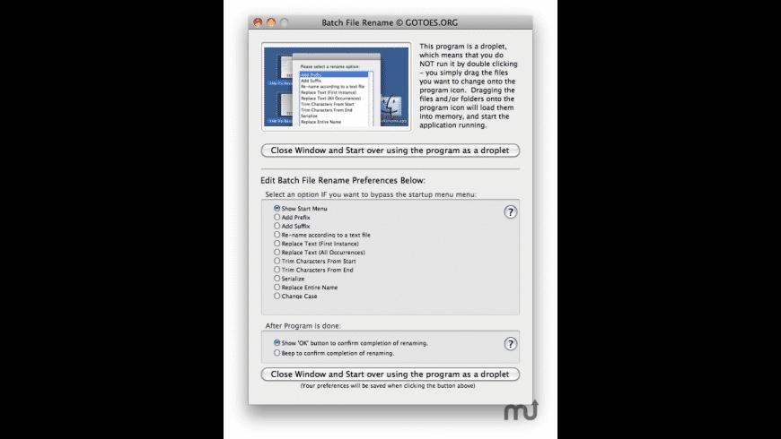 Batch File Rename for Mac - review, screenshots
