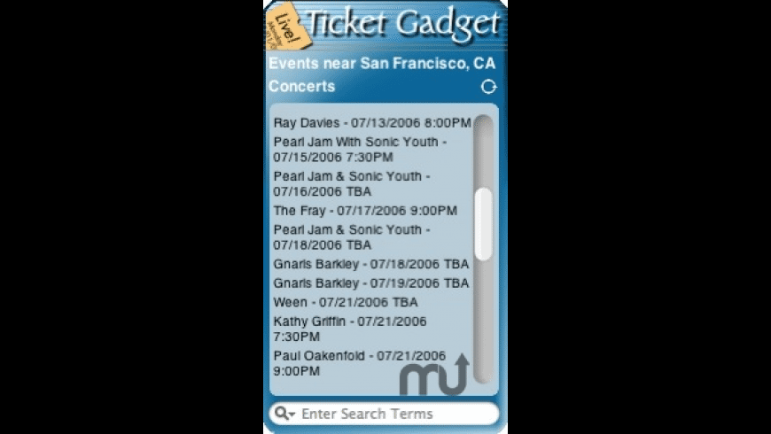 Ticket Gadget for Mac - review, screenshots