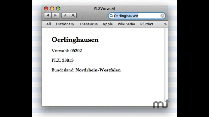 PLZVorwahl for Mac - review, screenshots