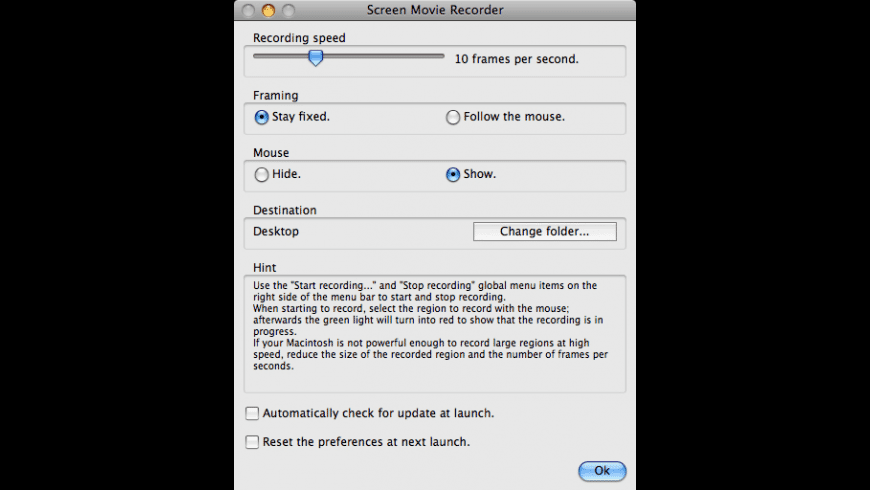 Screen Movie Recorder for Mac - review, screenshots