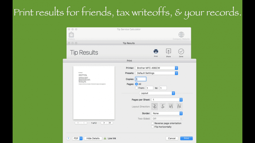 Tip Service Calculator for Mac - review, screenshots