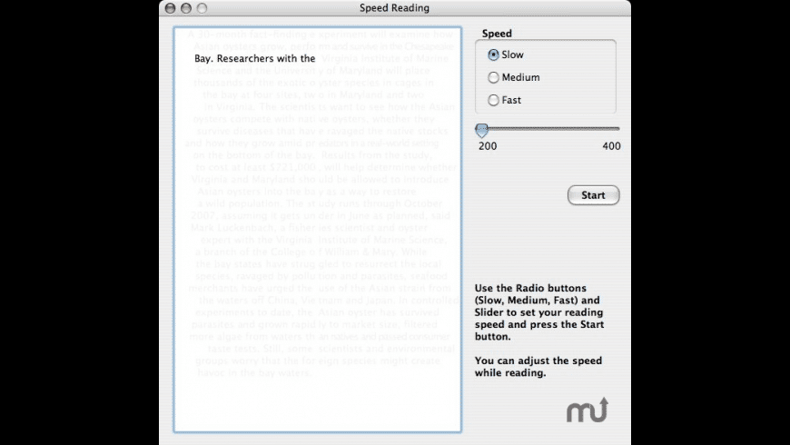 Speed Reading II for Mac - review, screenshots