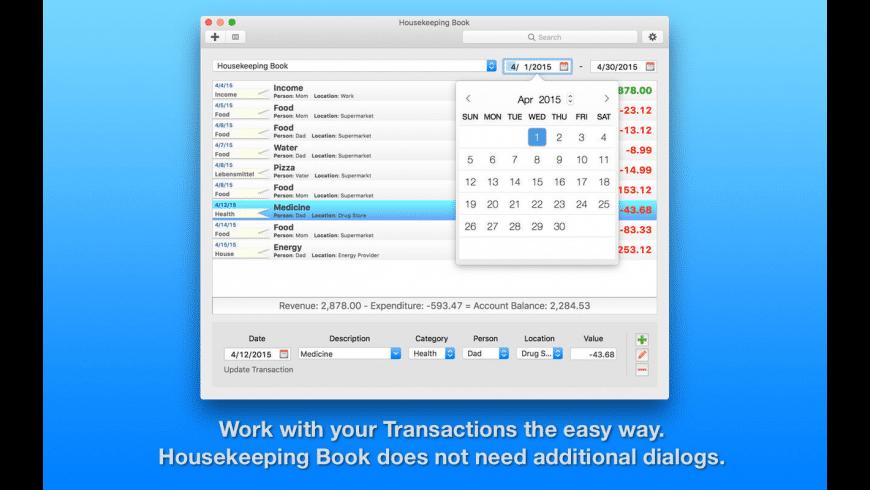 Housekeeping Book for Mac - review, screenshots