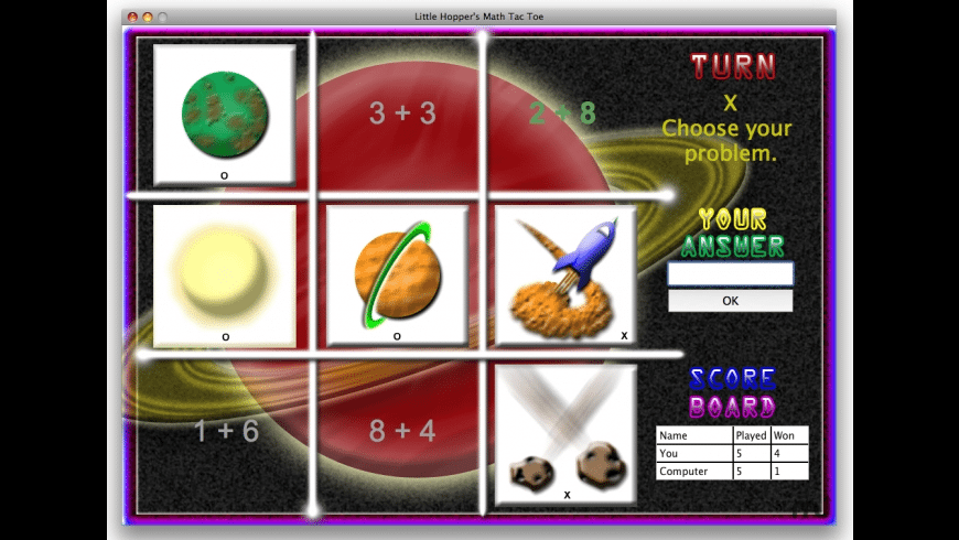 Little Hoppers Math Tac Toe for Mac - review, screenshots