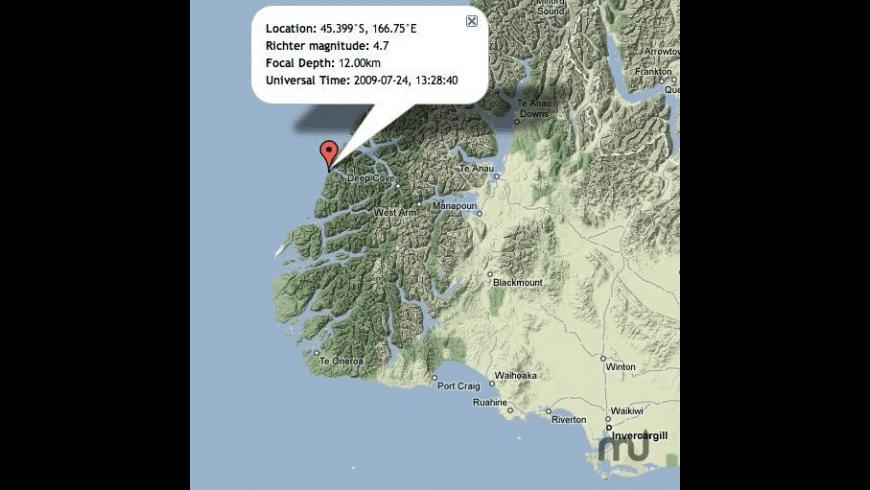 NZ Earthquakes Screen Saver for Mac - review, screenshots