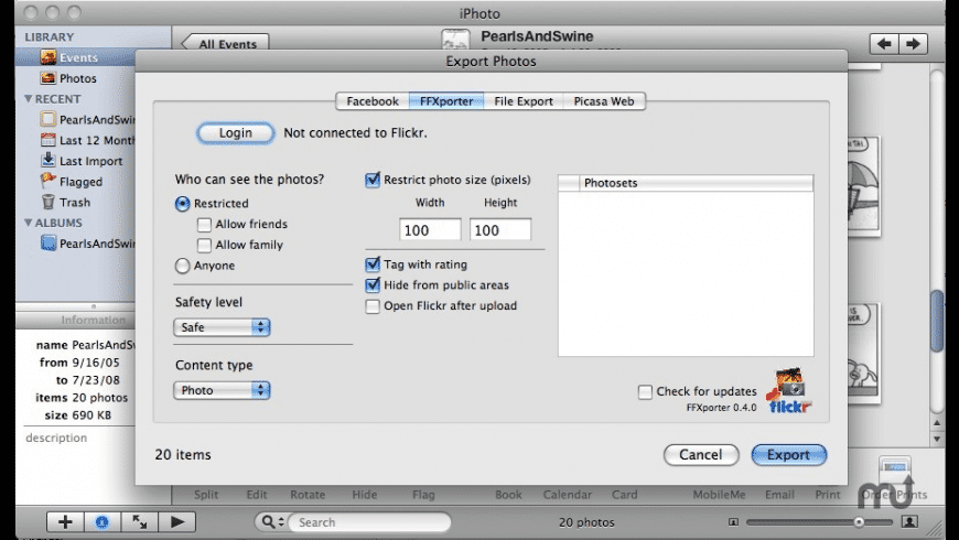 Free Flickr eXporter iPhoto Plugin for Mac - review, screenshots
