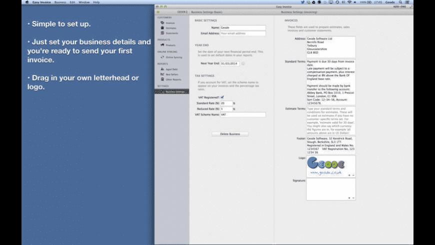 Easy Invoice (PDF generator) for Mac - review, screenshots