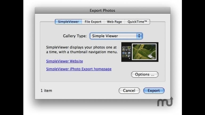 SimpleViewer iPhoto Plugin for Mac - review, screenshots