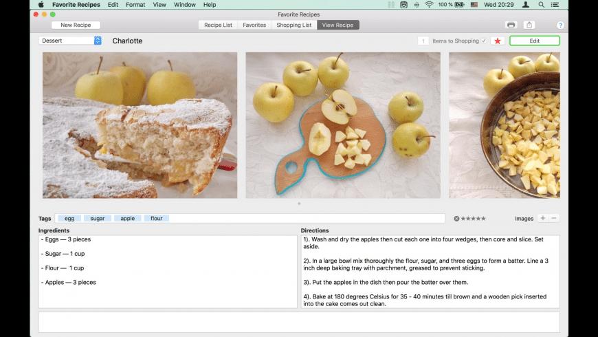 Favorite Recipes for Mac - review, screenshots