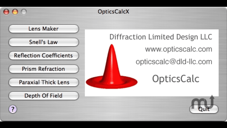 OpticsCalcX for Mac - review, screenshots