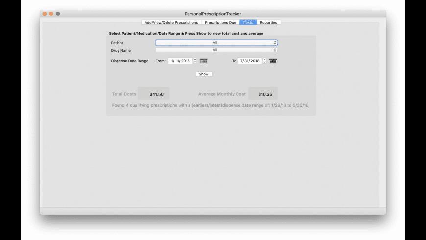 Personal Prescription Tracker for Mac - review, screenshots