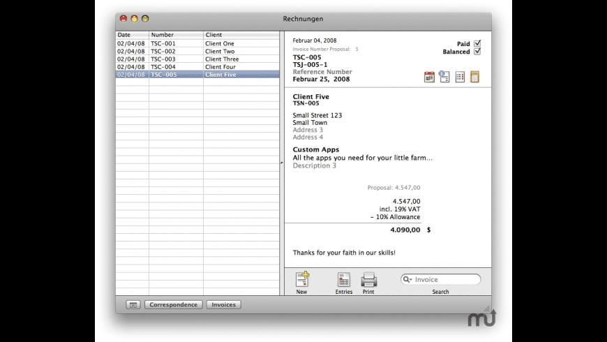 Rechnungen for Mac - review, screenshots