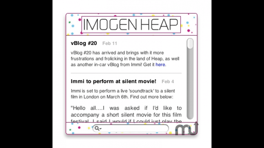 Imogen Heap Widget for Mac - review, screenshots