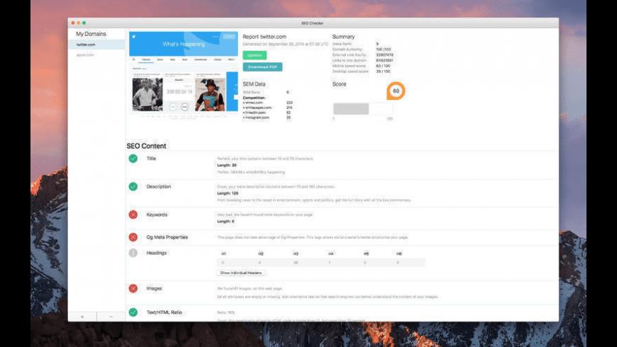 SEO Checker for Mac - review, screenshots