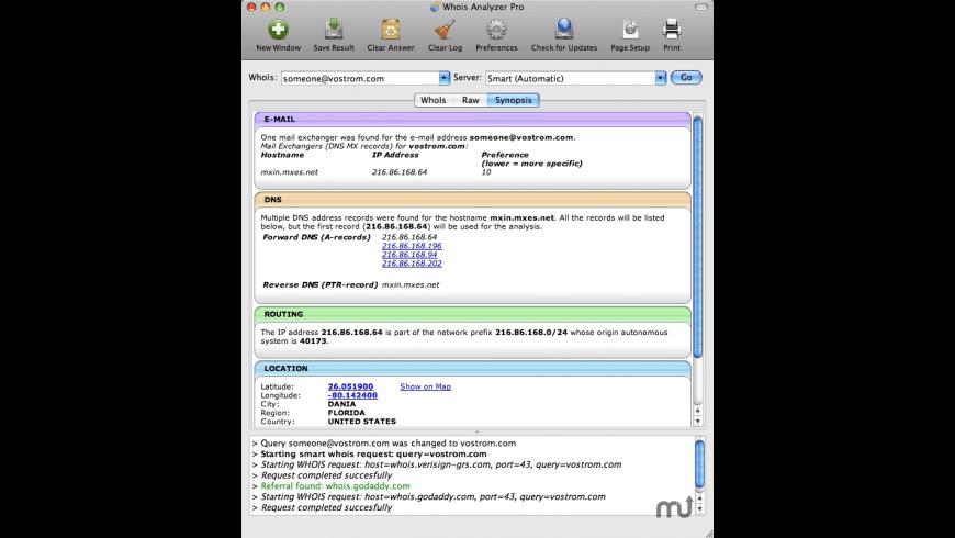 WhoIs Analyzer Pro for Mac - review, screenshots
