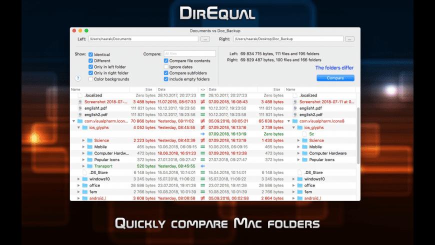 DirEqual for Mac - review, screenshots