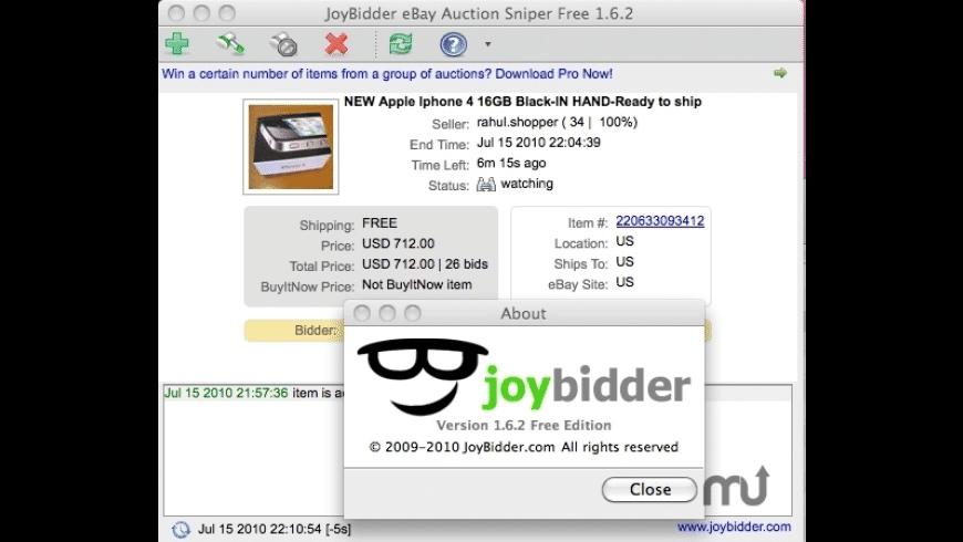 JoyBidder eBay Auction Sniper Free for Mac - review, screenshots