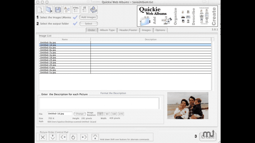 Quickie Web Albums X for Mac - review, screenshots