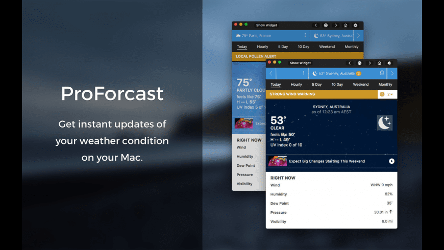 ProForecast for Weather Channel for Mac - review, screenshots