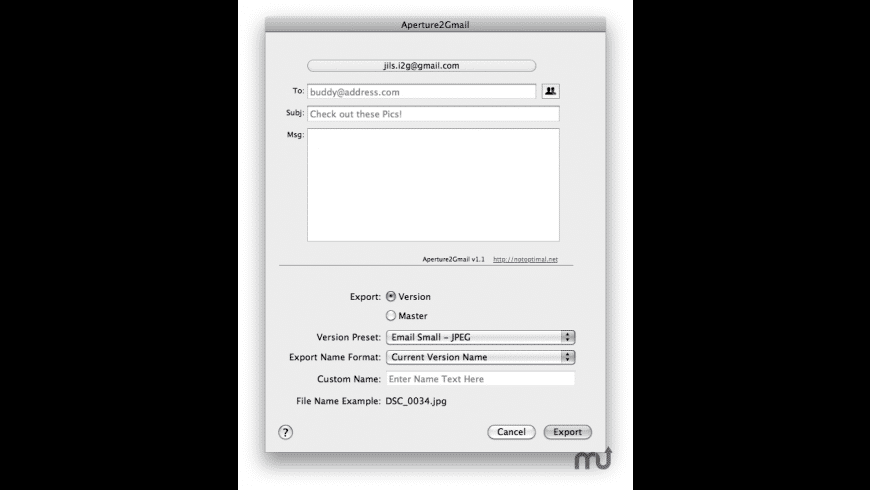 Aperture2Gmail for Mac - review, screenshots