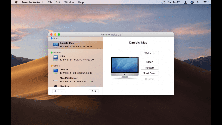 Remote Wake Up for Mac - review, screenshots