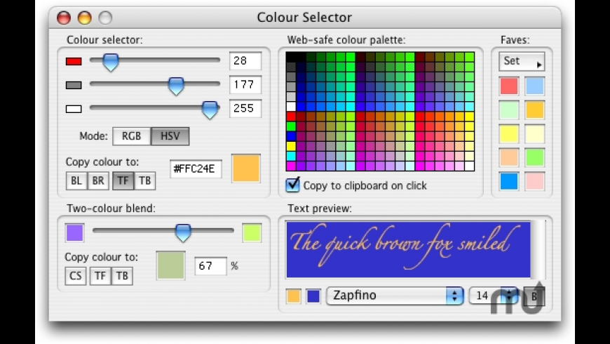 Colour Selector for Mac - review, screenshots