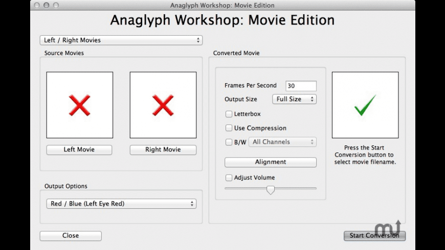Anaglyph Workshop: Movie Edition for Mac - review, screenshots