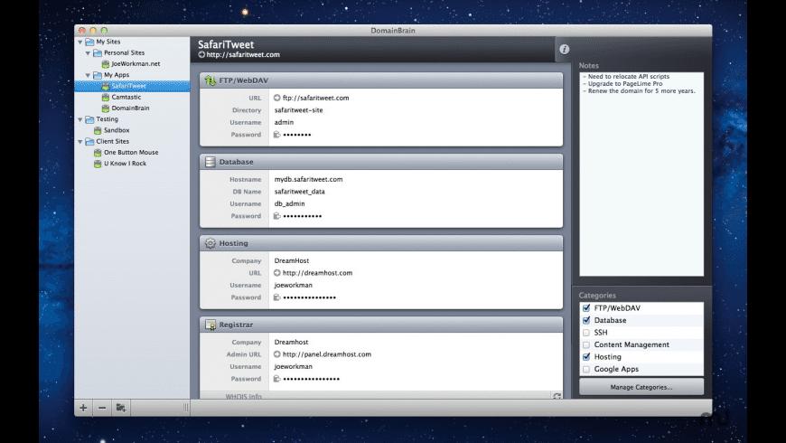DomainBrain for Mac - review, screenshots