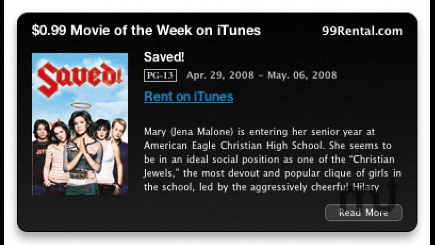 $0.99 iTunes Movie of the Week Widget for Mac - review, screenshots