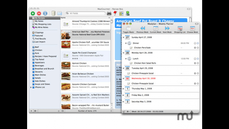 MacGourmet:Mealplan for Mac - review, screenshots