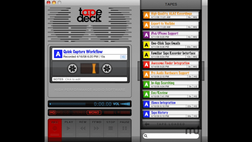 TapeDeck for Mac - review, screenshots