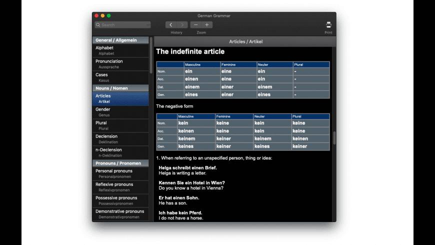 German Grammar for Mac - review, screenshots