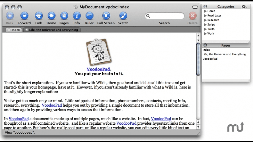 VoodooPad Lite for Mac - review, screenshots