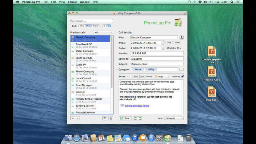 PhoneLog Pro for Mac - review, screenshots