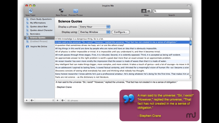 Inspire Me for Mac - review, screenshots