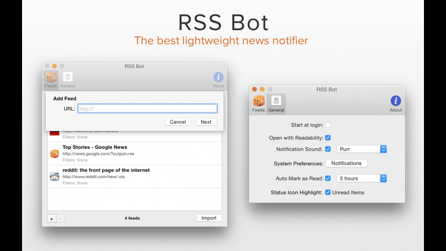 RSS Bot for Mac - review, screenshots