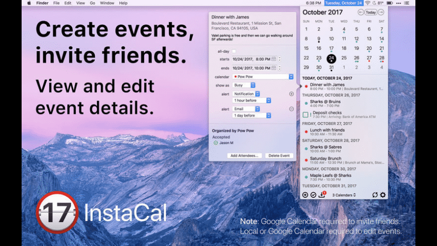 InstaCal for Mac - review, screenshots