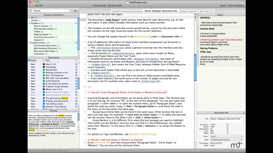 Ulysses core for Mac - review, screenshots