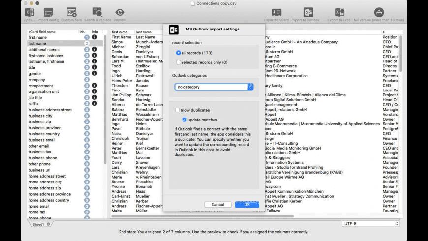 vCardConverter for Excel for Mac - review, screenshots