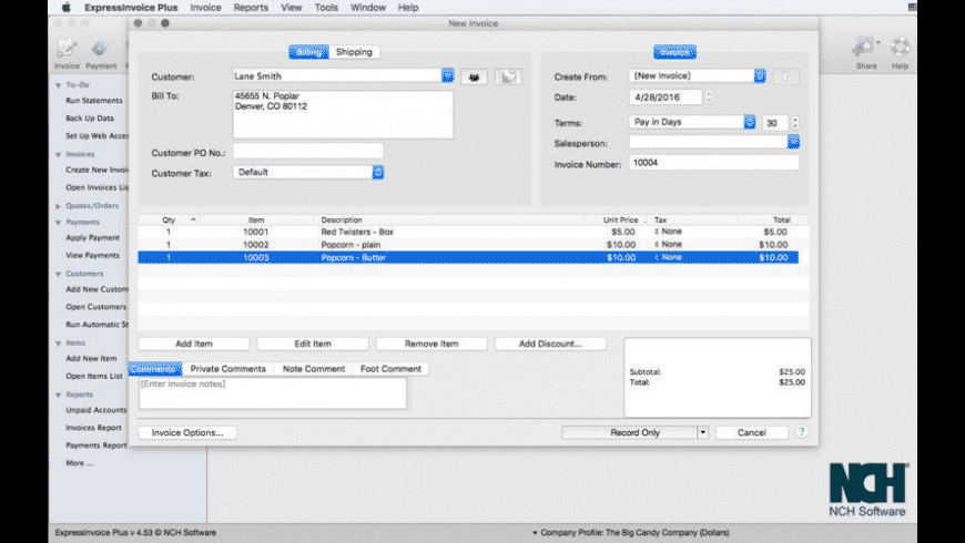 express invoice for mac