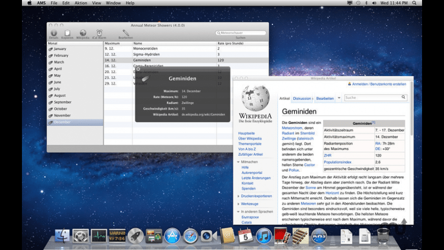 Annual Meteor Showers for Mac - review, screenshots