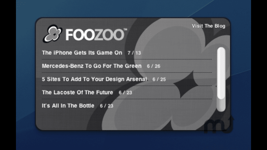 Foozoo Design Blog Widget for Mac - review, screenshots