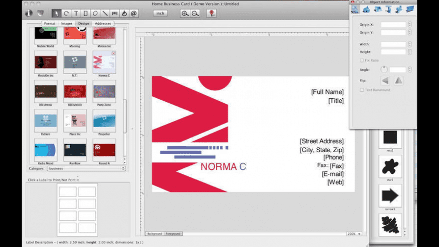 Home Business Card for Mac - review, screenshots